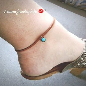 Natural Turquoise Howlite Gemstone Leather Anklet